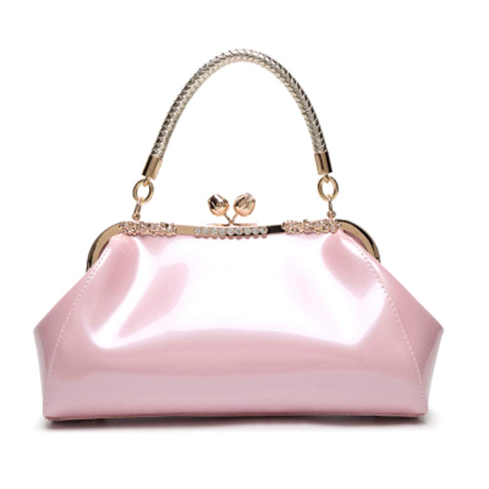 Vintage Christmas Gift Ideas for Women C&L Fashion Patent PU Leather Kiss-Lock Structured Womens Purse Handbag with Removable Strap $28.99 AT vintagedancer.com