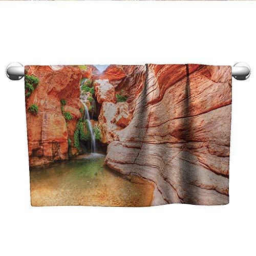 Americana,Towels GirlsElves Chasm Colorado River Plateau Creek Grand Canyon Image Print Absorbent and Super Soft Towels Scarlet Green Pale Brown W 20