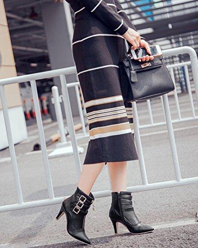 Haut Bottines Femme Couleur Fermeture Éclair Cheville Et Martin Talon Bout Unie Boucle Noir Pointu Rond Hiver Automne Boots Bottes p4XpTq