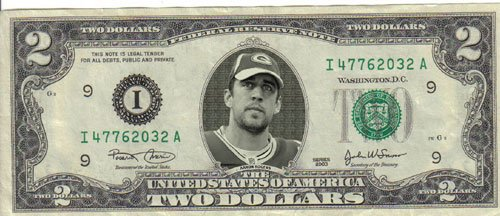 Packers Aaron Rodgers $2 Dollar Bill Mint! Rare! $1 for sale  Delivered anywhere in USA