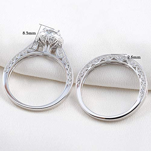 Newshe Wedding Rings for Women Engagement Ring Set 925 Sterling Silver 2.4Ct Round White AAA Cz Size 5-12 3