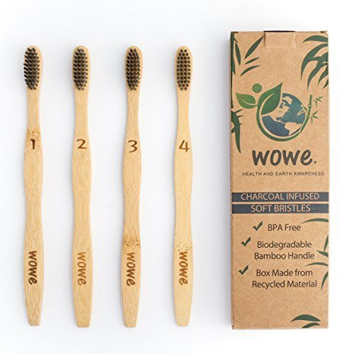 Wowe Lifestyle Organic Natural Bamboo Toothbrush - Charcoal Infused Soft BPA Free Bristles, Ergonomic Biodegradable Wood Handle, Pack of 4