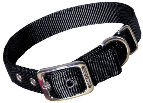 Hamilton Thick Nylon Deluxe Dog Collar, 1-Inch by 24-Inch Double, Black -