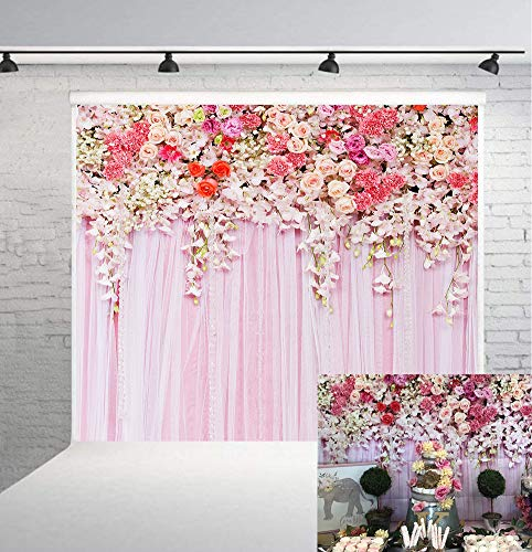 Wedding Photography Backdrops Pink Flowers Backdrop Photography Background Flowers Curtain Bridal Shower Background Girl Birthday Photo Booth Props Background 6x6FT