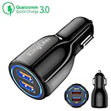 KingLeer Car Charger,Quick Charger 3.0+3.1A Smart IC Fast car Charger,35W Dual Ports USB Car Charger Adapter for iPhone X/8/7/6s/Plus, iPad Air 2/Mini 3, Samsung Galaxy S9/S8 Note (Qualcomm Certified)