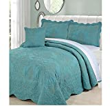 4 Piece Teal Blue Oversized Damask Bedspread Set Queen, French Country Shabby Chic Floral Pattern Luxury Bedding, To The Floor Drapes Over Edge Scalloped Edges Extra Long, Microfiber Polyester