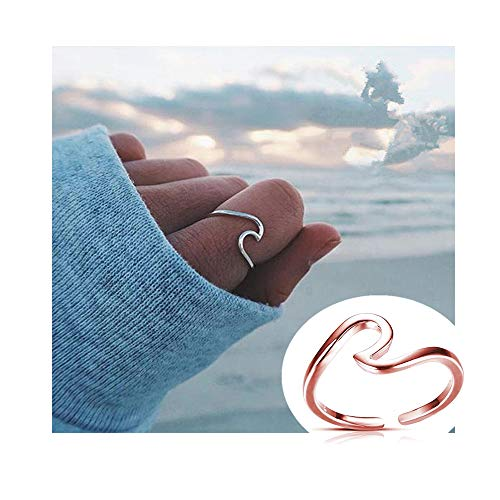 Ring Open Swirl (Dwcly Ocean Sea Wave Thin Swirl Thumb Stackable Open Finger Ring Fashion Gift for Her (Rose Gold))