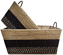 XUAN Large Storage Baskets, Set of 2 Mareket Collection Stripe Bin Paper Rope Basket Box with Handles for Bedroom Closet Kitchen Decorative Storage Container Organizer