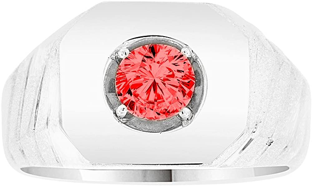 White Rhodium Plated Metal Classic Ring Men Guy Gent Synthetic Jul Birthstone Red CZ