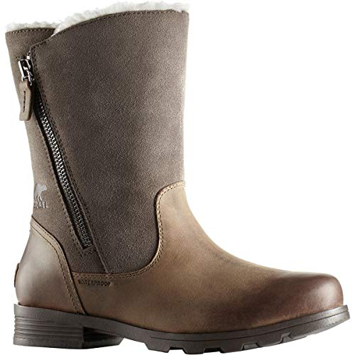 Sorel Womens Emelie Foldover Fleece Winter Snow Waterproof Mid Calf Boot Major (7) - Fold Over Leather