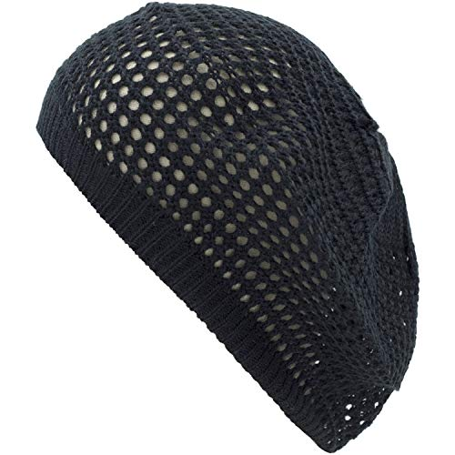 an Black Slouchy Beanie Cap Light Weight Cute Fashion Accessory Solid Color ()