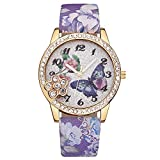 Watches for Prime Day Deals 2018!!Women's Wrist Watches Luxury Fashion Faux Leather Mens Blue Ray Glass Quartz Analog Watches  Multifunction Sports Watch(Multicolor) (Purple)