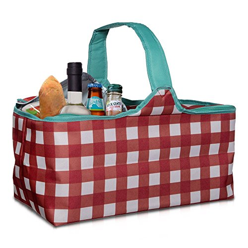 Large Hot and Cold Picnic Basket Bag - Insulated Red and White Gingham with Easy Carry Handle (17'')
