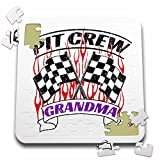3dRose Carsten Reisinger - Illustrations - Pit Crew Grandma Funny Car Race Theme Birthday Party Host - 10x10 Inch Puzzle (pzl_279862_2)