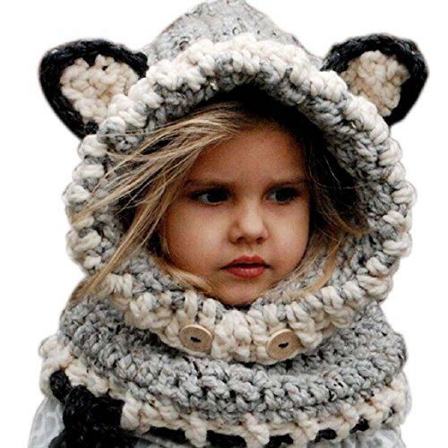 Malloom Winter Wolle Gestrickte Hüte Baby Mädchen Schals Kapuze Mönchskutte Beanie Mützen (grau)