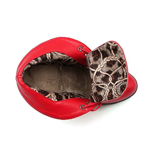 Red Boots Heels 1TO9 Girls Bandage Chunky Platform Leather Imitated ctxxw08Zaq