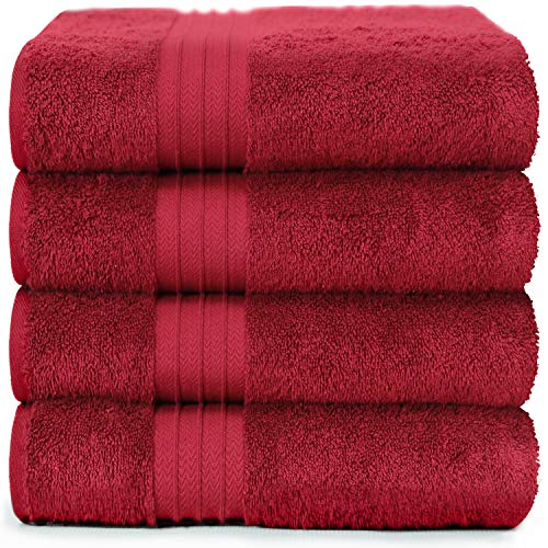 4-Piece Bath Towels Set for Bathroom, Spa & Hotel Quality | 100% Cotton Turkish Towels | Absorbent, Soft, and Eco-Friendly (Burgundy)