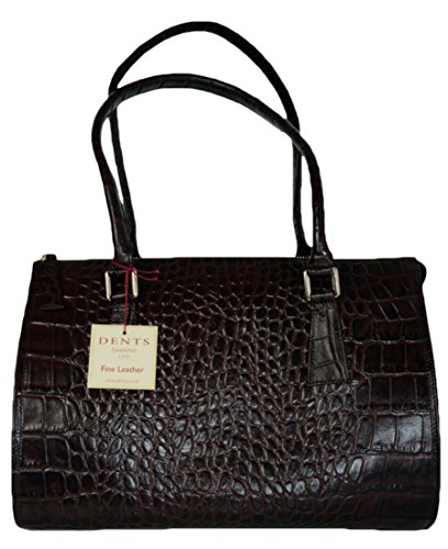 Dents - Crocodile Print Leather Bowling Bag Chocolate