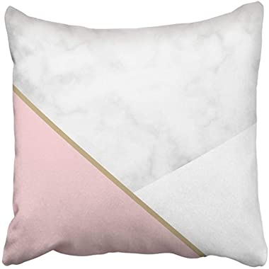 Throw Pillow Cover 18X18 Inch Polyester Pink Geometric Minimalist Marble Design Gold Chic Minimal Rock Nordic Scandinavian Modern Decorative Pillowcase Two Sides Square Print for Home