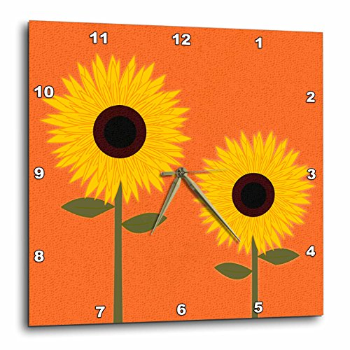 3dRose dpp_24641_1 Simply Sunflowers Burnt Orange Background-Wall Clock, 10 by 10-Inch
