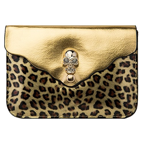 Leopard Skull Bag Carrying Case (Gold) for Samsung Galaxy Grand 2 Smartphone + SumacLife TM Wisdom Courage - Anarchy Wristband