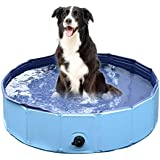 Jasonwell Foldable Dog Pet Bath Pool ,Collapsible Dog Pet Pool Bathing Tub for Dogs or Cats (32inch.D x 8inch.H, Blue)