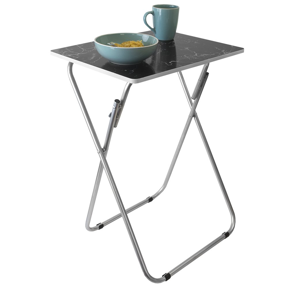 Home Basics Multi-Purpose Sturdy and Durable Decorative Bedside Laptop Snack Cocktails TV Folding Table Tray Desk Bedside Laptop Snacks Black Marble by Home Basics (Image #5)