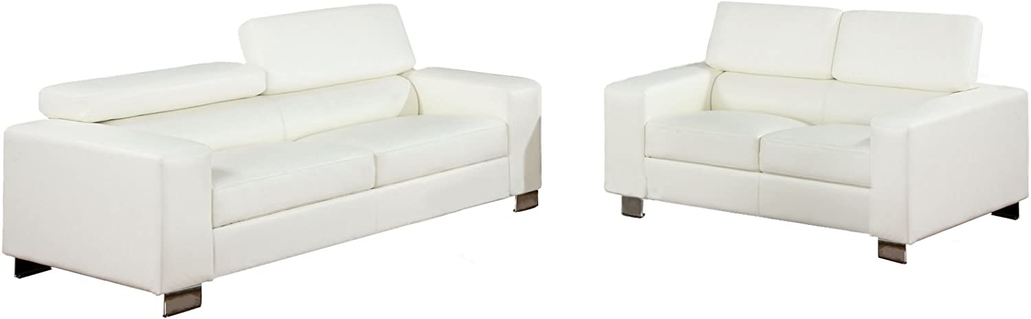 Furniture of America Bloomsbury 2-Piece Bonded Leather Match Sofa Set, White
