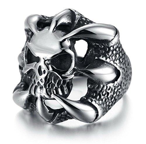 Psrings Big Gothic Flower Skull 316L Stainless Steel Biker Ring Anarchy Death Skull Ring 316L Stainless Steel Skull Ring 7 0