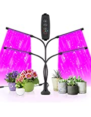 Sondiko Grow Light, 80W 4 Heads Timing 80 LED 9 Dimmable Levels Plant Grow Lights for Indoor Plants with Red Blue Spectrum, Adjustable Gooseneck, 3 9 12H Timer, 3 Switch Modes…