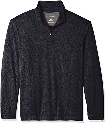 Haggar Men's Long Sleeve Athleisure Space Dye Quarter Zip, Black, M - Quarter Zip Shirt
