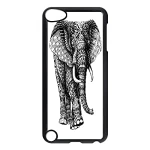{Art Series} Ipod Touch 5 Case Ornate Elephant V.2, Case Doah - Black