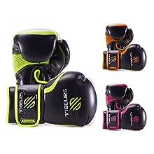 Sanabul Essential Gel Boxing Gloves (Black/Orange, 14 oz )