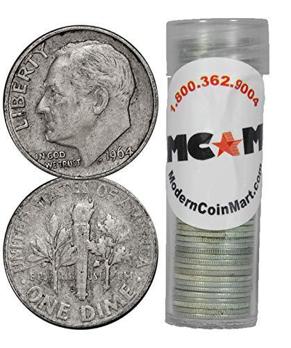 1946 Roll of 50 - Roosevelt Junk Silver Dimes Avg Circ