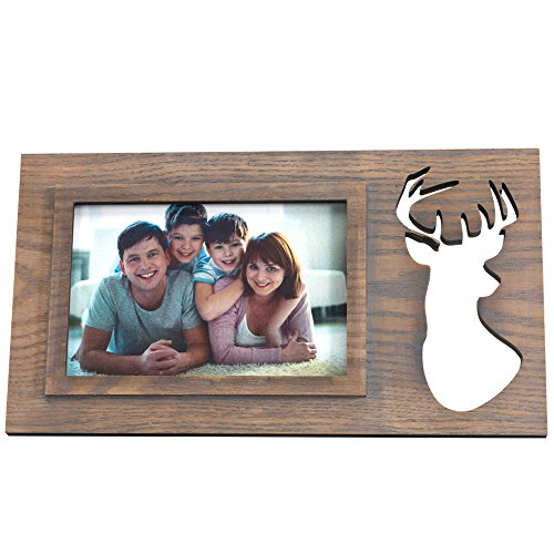 BingYes Wood Picture Frames, Elk Element, Matted for 4x6 Inch Photo,Photo Frame, Perfect for Wedding, Offices, Restaurants, Business,Bedroom ()