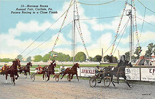Harness Races, Annual Fair, Pacers Racing to a Close Finish Carlisle, Pennsylvania, PA, USA Old Vintage Horse Racing Postcard Post Card