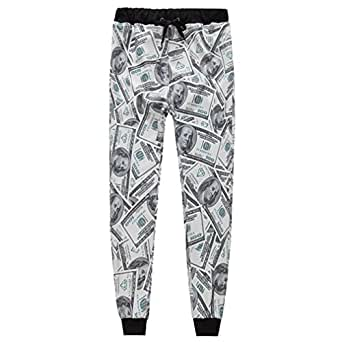 Uhomedecor Unisex 3D Dollar Joggers Sweatpants Sportswear Black S
