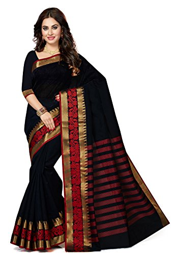 ishin Women's Chanderi Cotton Navy Blue Solid Party Wear Wedding Wear Casual Wear Festive Wear Bollywood New Collection With Golden Zari Border Latest Design Trendy Saree/Sari Free Size Navy blue by Ishin USA