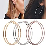 Best Hoops & Loops Friend Gifts On Sales - Auwer Fashion Earrings, Elegant Jewellery 3 Pair New Review