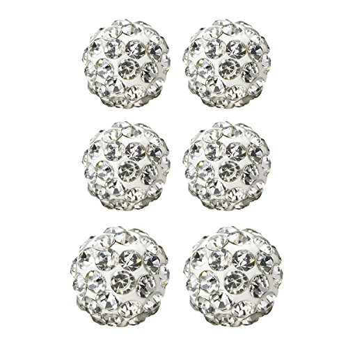 Silver Disco Ball Earrings (Value Pack, Bling Bling Rhinestones Crystal Fireball Disco Ball Ball Stud Earrings, Stainless Steel, Hypoallergenic (Set Q. 6mm x 2 Pairs + 8mm x 1 Pair (White)))
