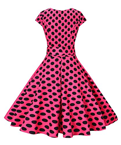 Rose Vogtage point Dot Swing Dress Polka 1950's Color amp;Solid BestWendding Waistband Vintage OFwv6qFB