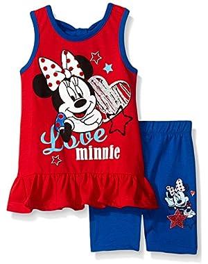 Girls' 2 Piece Miss Minnie Mouse Cute Bike Short Set