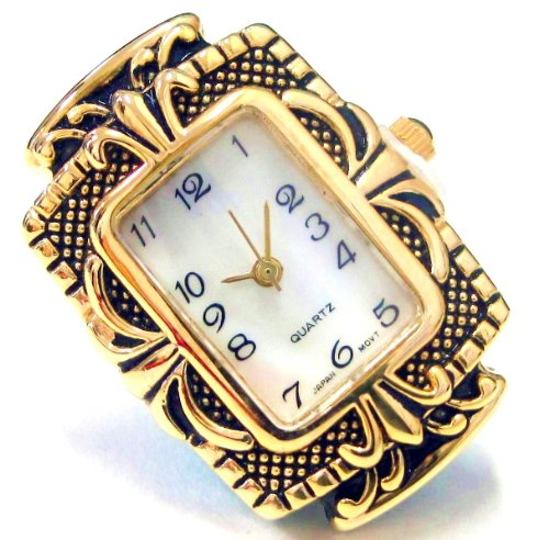 Linpeng Internationa Rectangle Watch Face Frame, 25 by 35mm, Antique Gold (Watch Hole Beads Face 2)