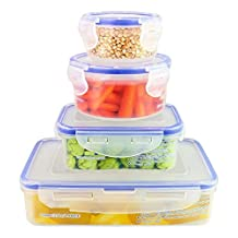 ChefLand 8-Piece Air Tight Plastic Food Storage Containers with Locking Lids, Assorted Sizes, Clear