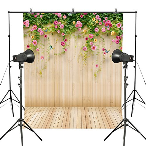 - MUEEU 6x9ft Floral backdrops Pink Flowers Wall Rose Wedding Wood Wall Photography Backgrounds Wooden Texture Floor for Photo Studio Props