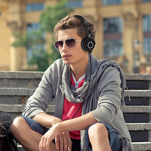On Ear Headphones with Mic, Vogek Lightweight Portable Fold-Flat Stereo Bass Headphones with Volume Control, 1.5M Tangle Free Cord and Microphone-Black