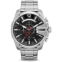 Diesel Mega Chief Silver Stainless Steel Quartz Black Dial Men's Watch DZ4308