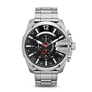 Diesel Mega Chief For Men Black Dial Stainless Steel Band Watch - DZ4308