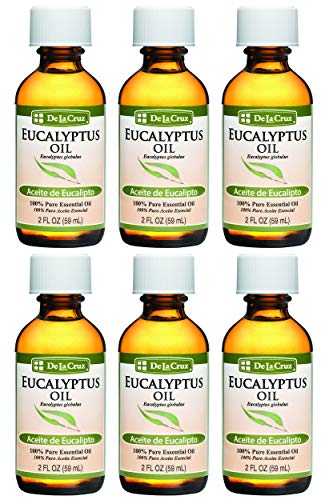 De La Cruz Pure Eucalyptus Essential Oil, Steam-Distilled, Bottled in USA 2 FL OZ (6 Bottles)