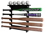 5 Baseball Bat Display Rack Wall Mount Shelf, Solid Wood, Black Finish, B17-BLA